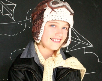 Aviator Hat Set with scarf and goggles