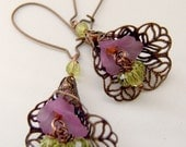 Lavender and Green Swarovski Crystal and Copper Floral Earrings , Shabby , Romantic