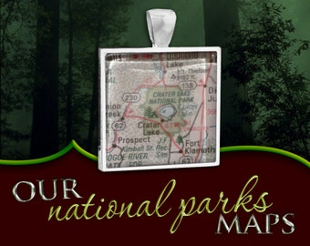 Crater Lake National Park Map Pendant