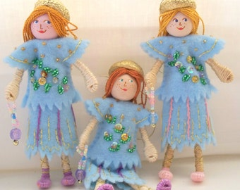 Piksee Twins Blue Skies Felt Doll Arts and Miniatures Spring Ornaments