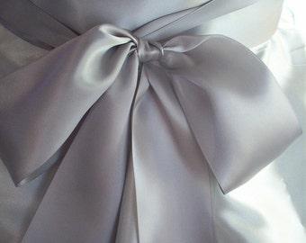 Wedding Sash, 3 inch Double Faced Satin, Silver, Handsewn Ends, Romantic Wedding Sash