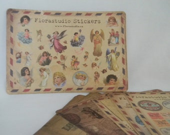 Vintage looking set of stickers sheets