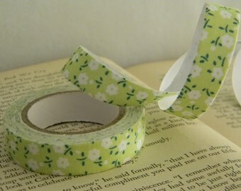 Single roll of deco floral fabric tape / DIY / gift wrapping