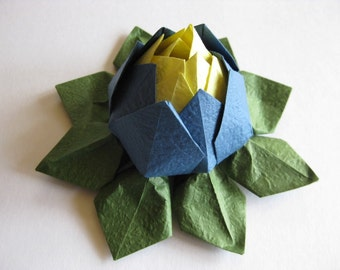 Origami Lotus Flower - Yellow and Blue, Japanese Special Momigami, Anniversary, Hostess Gift, Birthday Gift, Table Decor, Get Well, Handmade