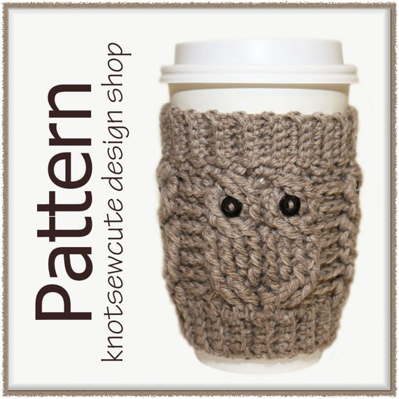 Owl Love Coffee Cozy - Crochet Pattern (PDF) - INSTANT DOWNLOAD