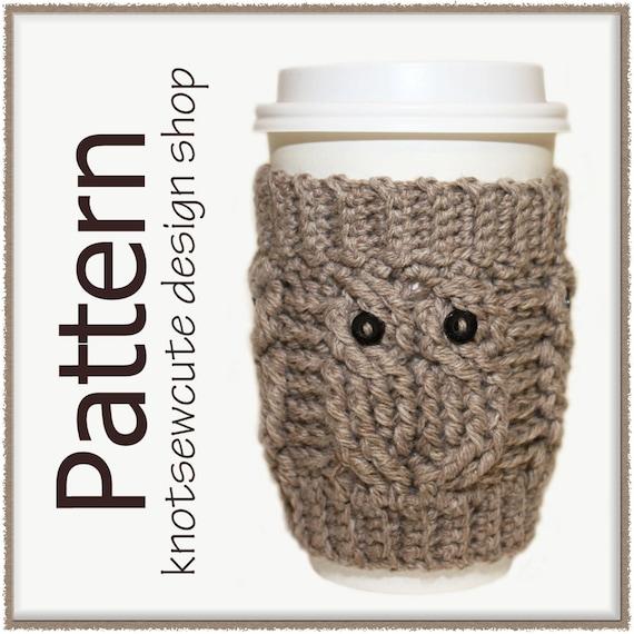 Owl Love Coffee Cozy - Crochet Pattern (PDF) - INSTANT DOWNLOAD