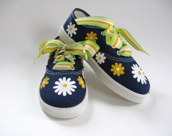 Daisy Shoes, Hand Painted Flower Sneakers, Girl's Birthday or Summer Shoes, Navy Blue Cotton Canvas Shoes, Toddler