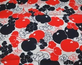 vintage 70s cotton fabric, featuring mod stylized fruit design, 1 yard, 1 inch
