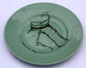 SALE 'Human Figure' Upcycled Duck Egg Blue Plate