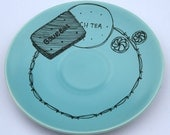 SALE 'Biscuit Anyone' Upcycled Blue Plate