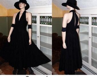 Vintage 80s 50s 60s vibe circle skirt maxi dress prom gothic pinup party brocade glam keyhole back deep plunge neckline little black dress