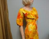 Vintage 60s Hawaiian Dress, Paradise Hawaii, Wiggle Dress, Sunshine Yellow, Tangerine Holomu'u