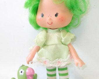 Vintage Lime Chiffon Strawberry Shortcake Doll with Parfait Parrot, Girls Doll Gift