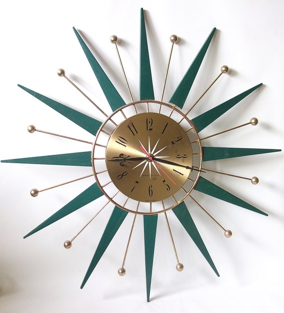 Retro Sunburst Starburst Teak Wood Westclox Wall Clock Green