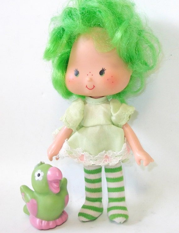 Vintage Lime Chiffon Strawberry Shortcake Doll with Parfait Parrot ...