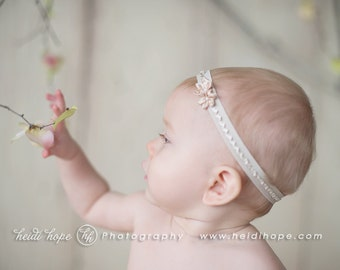 Catalya - Beige Flowers Pearl Lace Headband - Baby Infant Newborn Girls Adults - Photo Prop - Wedding Baptism