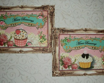 FRENCH - Elegant - CUPCAKES,  Merci Beaucoup -  Shower gift - Click on All Photos - 8 Thank You cards and envelopes - TYC 4476