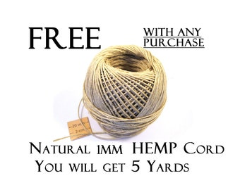 FREE  Please read description, Natural 1 mm Hemp Cord, 5 yards, with any purchase, code 3030-05