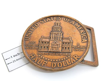 Antiqued Bright Copper  Metal Exact Copy of famous U.S. Half Dollar Coin, 75mm Round  Belt Buckle, 1077-26