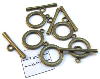 Antiqued Brass 22mm Metal Toggle Clasp, Set of 5 pc, 1088-23