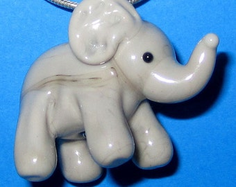 Cute Lampworked Glass Elephant