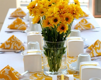 "YELLOW DAMASK RUNNER Table Runner,  72""  White on Yellow damask,  Table Runner , Osborne Wedding Bridal"