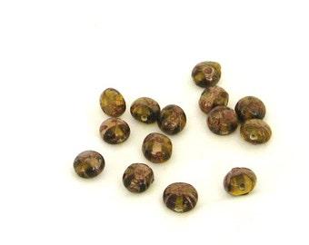 beads, lampwork, gold, coffee brown, brown, 14 pieces, C, destash