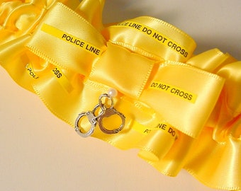 Wedding garter  POLICE LINE do not CROSS  Keepsake garter