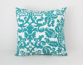 Teal Pillow Covers Throw Pillows Decorative Pillow Cover size Choice Turquoise Pillow Damask Pillow