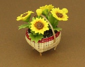 Dollhouse Miniature Handmade Clay Helianthus Sunflower Flower With Bamboo Pot