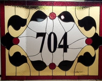 Stained glass Transom - Traditional Address Marker (TW-35)