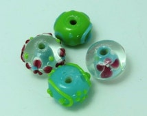 SALE - Green Spring Combo - Set of 4 Lampwork Florals and Swirls