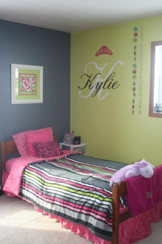 Initial and name with crown and gems for wall vinyl decal