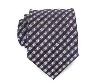 Mens Tie Purple and Gray Checkers Mens Necktie