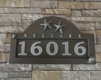 Starfish Cottage Address Plaque Seastar House Numbers