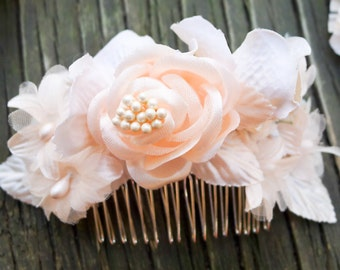 Blush & Mint Pearl Hair Flower, Comb, Wedding, Bridal, Headpiece, Silk, Fascinator, Clip