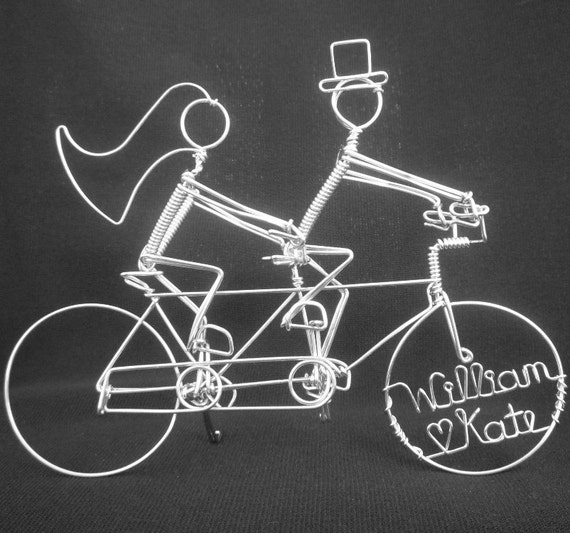 THE ROYAL WEDDING: Personalized Tandem Riders Wedding Cake Topper