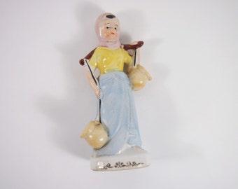 Vintage 30s Porcelain Peasant Girl Japan Figurine