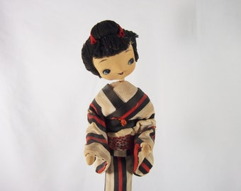 Japanese Lady 70s Vintage Doll on Stand Figurine