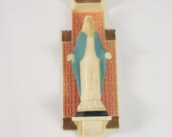 Religious Mary Wall Plaque Plastic 60s Figurine
