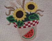 Kitchen Towel with Sunflowers in a Pot