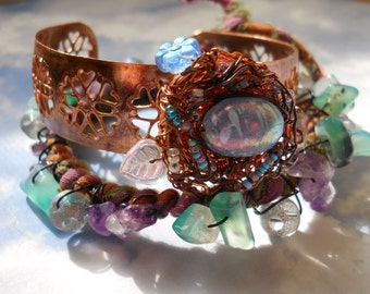Woodland Fairy Birdnest cuff with matching bangle rustic boho