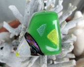 Large Green Apple Pendant with Purple Dichroic Fused Glass