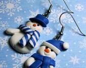 STORE CLOSING SALE Snowman Earrings - Blue