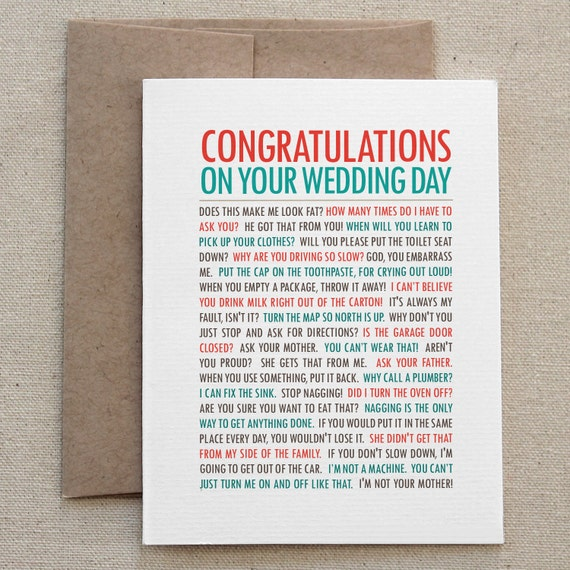 Funny Wedding Card Congratulations Unique Awesome By