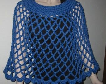 Azure Blue Crochet Mesh Poncho