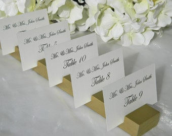 Antique Gold  Wood Plank  wedding Place Card Holder- Set of  10 (holds 100 place cards)