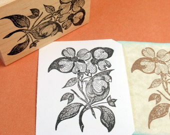 Dogwood Flower Rubber Stamp  - Handmade by BlossomStamps
