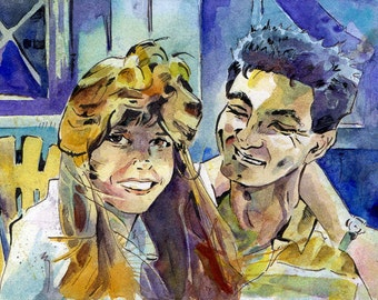 Custom Engagement Portrait 5 inches x 7 inches - Wedding Gift Painting of the Happy Couple Watercolor - Made to Order - Anniversary Art