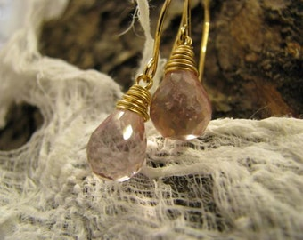 Pink mystic quartz briolettes 16 carat gold plated EARRINGS  wire wrapped